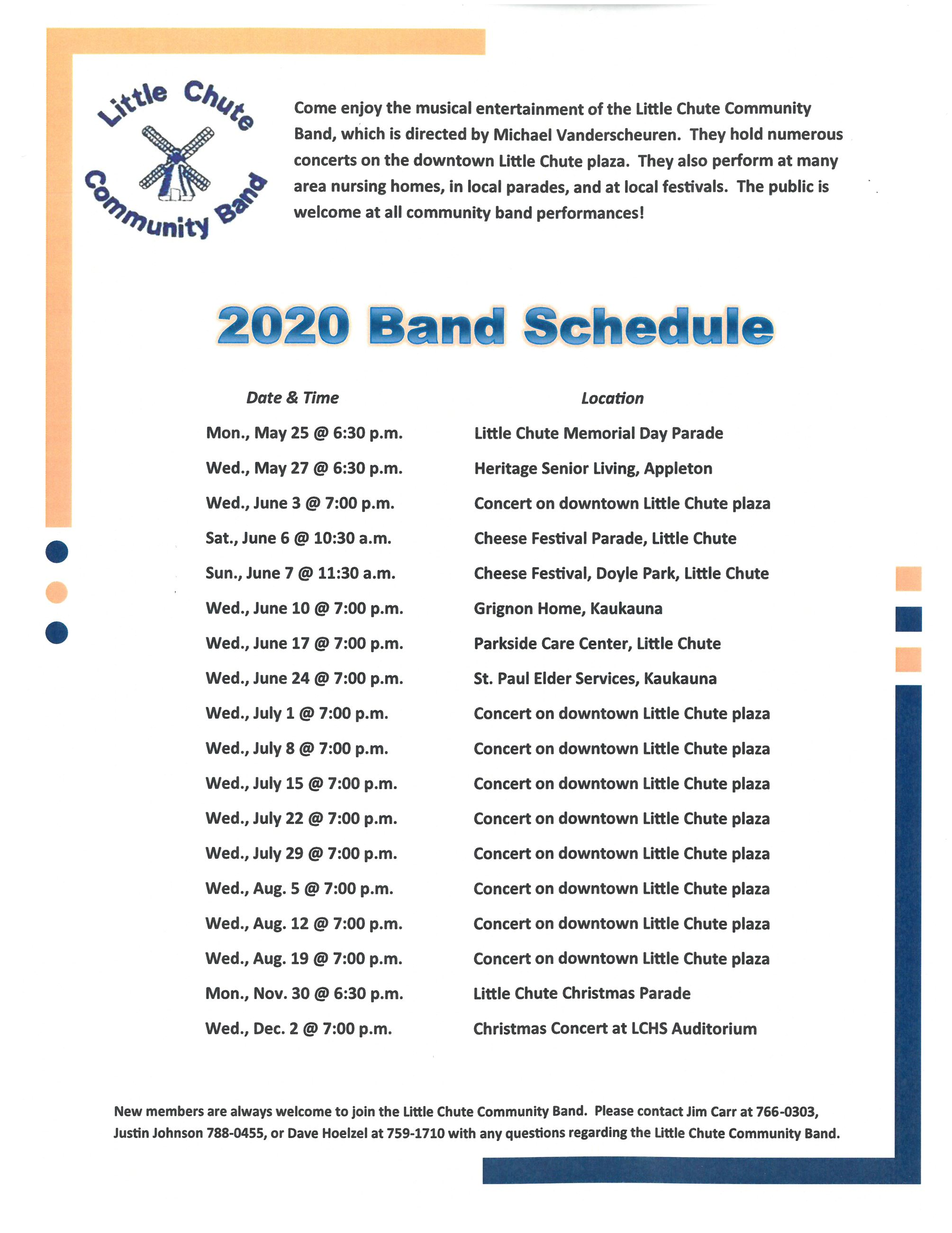 2020 Community Band Schedule